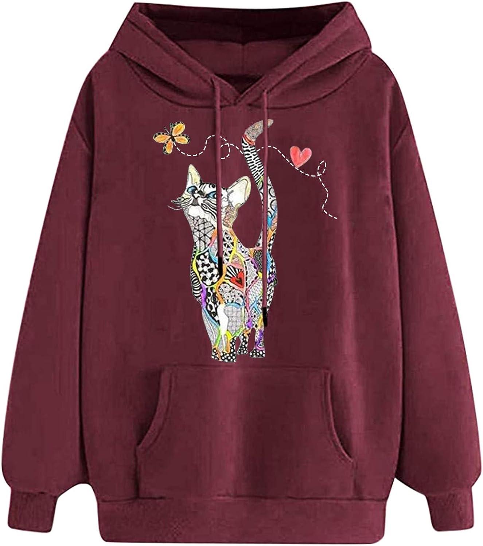 Toeava Women's Hooded Sweatshirt Blouse Cute Cat Printing Drawstring Pullover Tops Long Sleeve Top Pullover