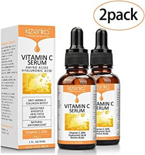 2 Pack Natural Vitamin C Serum with Amino Acid and Hyaluronic Acid for Face,Eye and Skin (7 oz),Anti Wrinkle, Boost Collagen, Whiten Skin,Anti Aging, Fades Age Spots and Sun Damage