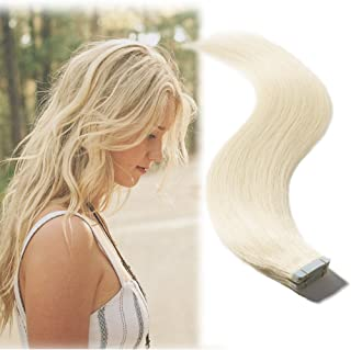16 Inch Tape in Hair Extensions Real Human Hair Platinum Blonde Seamless Remy Straight Skin Weft Hair Extensions Professional Tape on (16'',30g/20Pcs,#60)+ 10pcs Free Tapes