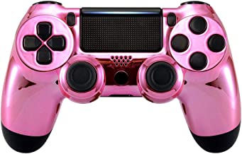 eXtremeRate Faceplate Cover, Chrome Pink Edition Front Housing Shell Case, Replacement Kit for Playstation 4 PS4 Slim PS4 ...