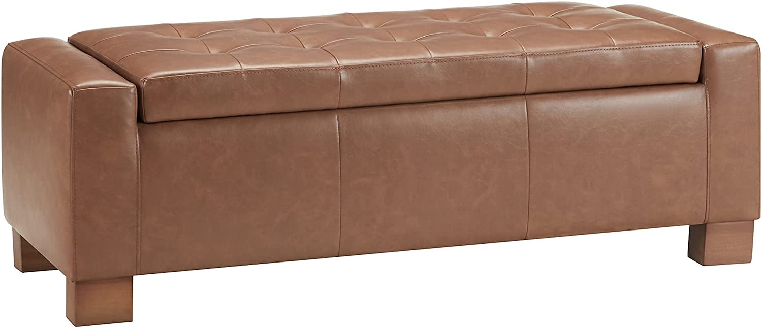 CHITA Button Tufted Faux Leather Ottoman Saddle Bench All Oklahoma City Mall items free shipping Storage B