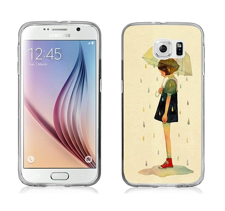 S6 Case - Case for Galaxy S6 - Cover Compatible for Samsung S6 - Lonely Girl with Umbrella in Rain (Slim Flexible TPU Protective Silicone)