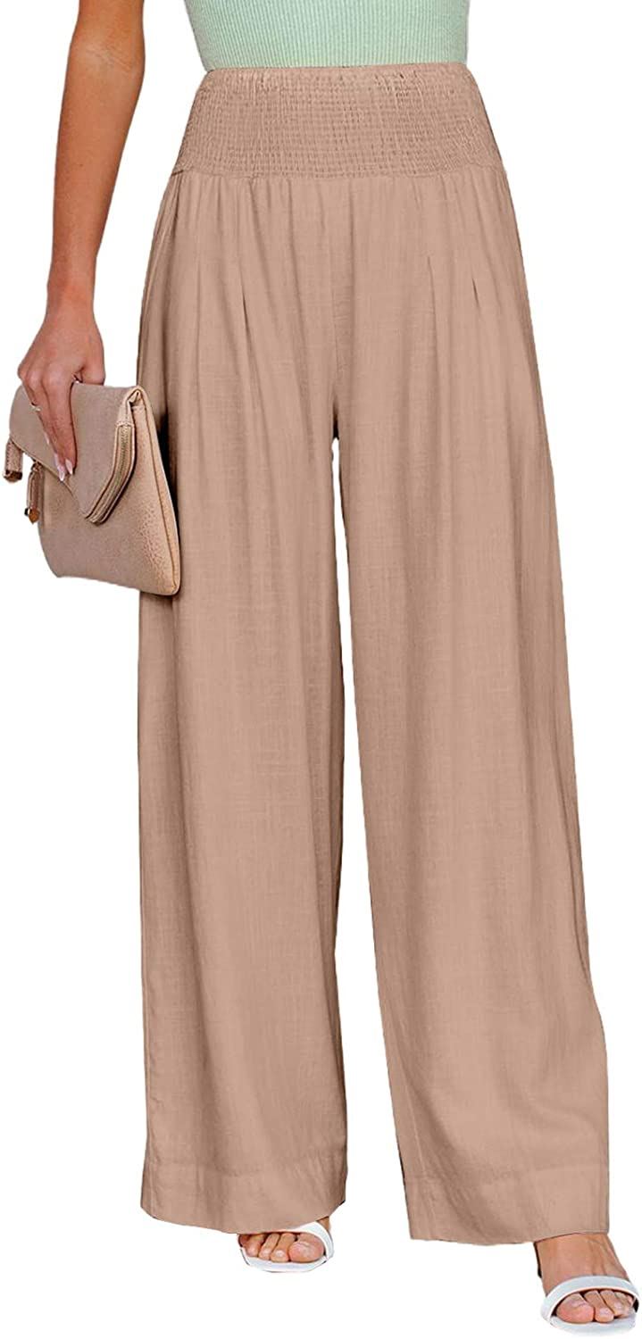 Dokotoo Women's Summer Beach Casual Elastic High Waisted Comfy Wide Leg Loose Work Joggers Jogging Long Pants with Pockets