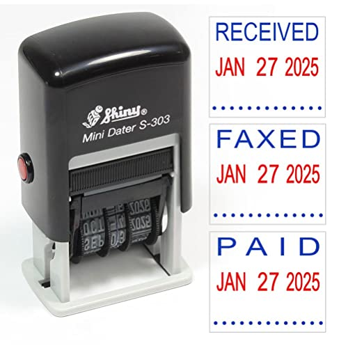 Shiny S 303 Self Inking 2 Color Rubber Date Stamp