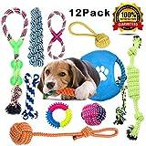 Anwin Welpenspielzeug 12pcs Hundespielzeug Kauspielzeug Interaktives Spielzeug Set Intelligenz Hundeseile Spielset Seil aus Baumwolle Zahnreinigung für große mittelere kleine Hunde und Welpen