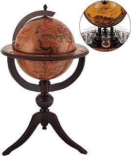 VIDAR Red Globe Wine Cooler,Earth Map Globe Bar,Sixteenth-Century Italian Replica Old World Globe Bar