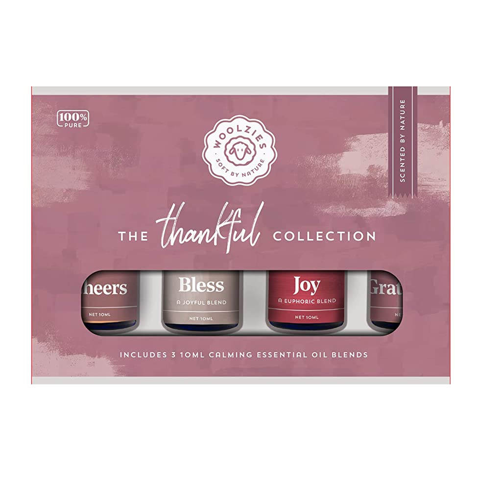 Woolzies Thankful Collection Essential Oil Set of 4: Gift Set includes Exotic Blends of Popular Oils | 100% Pure Therapeutic Grade Oil | Great for Diffusers, Massage and Humidifiers