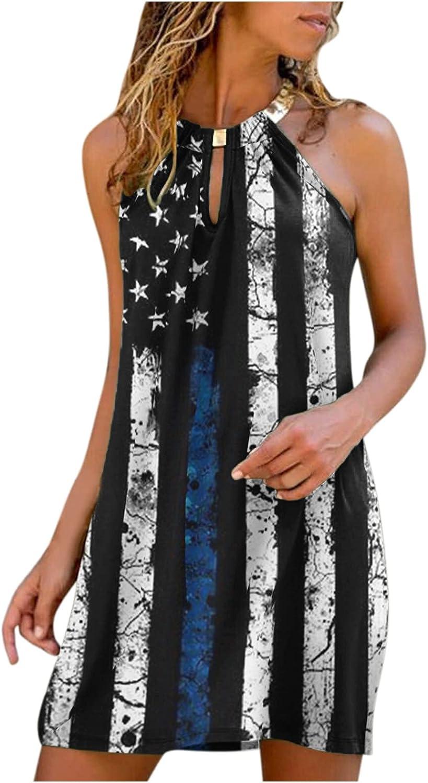 Aniwood Summer Dresses for Women,Women's Sleeveless Loose Star-striped Print Casual Mini Tank Dress Beach Party Sundress