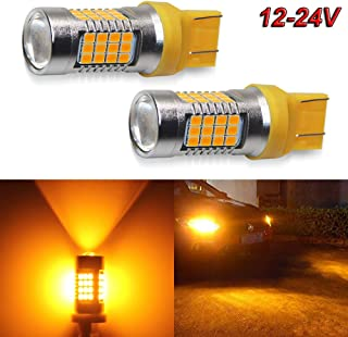 7443 Led Bulbs Amber Flashing Strobe Turning Signal Lights 2000LM 54-SMD LED Chipsets 12-24V 2PC Pack 7440 T20 Led Bulb with Projector for Turn Signal Lights, Side Marker Lights (7443 Amber Yellow)