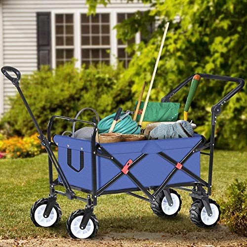 BEAU JARDIN Folding Wagon Garden Cart Foldable Push Trolleys Collapsible Utility 100KG Max load Sturdy Portable Rolling Lightweight Beach Outdoor Garden Picnic Heavy Duty Shopping Cart Wagons Upgrade