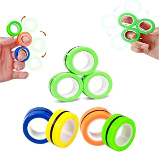 Magnetic Rings Finger Fidget Toys for Stress Relief, ADHD, Anxiety and Autism, 3 Piece Decompression Unzip Toy for Kids an...