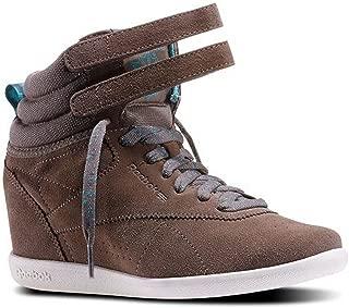 Womens Classics Freestyle Hi Int Hidden Wedge Fashion Sneaker Trek Grey/Timeless Teal/Cream White