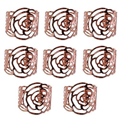 Yeemeen Anelli portatovagliolo in Metallo, a Forma di Rosa, Porta tovaglioli, Decorazione da Tavolo Porta tovaglioli Multifunzione, per casa, Matrimonio, Decorazione da Tavolo