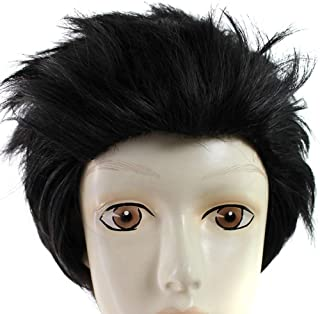 Anogol Hair Cap+Japanese Anime High-Temperature Cosplay Wig Black Synthetic Hair Short Wavy Men's Wigs