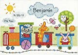 """Dimensions Train Birth Record Counted Cross Stitch Kit, Baby Shower Gift, 7"""" x 5"""""""