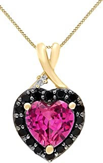 Simulated Pink Sapphire, Black Spinel CZ Diamond Pendant Necklace 925 Sterling Silver(1.88 Ct)