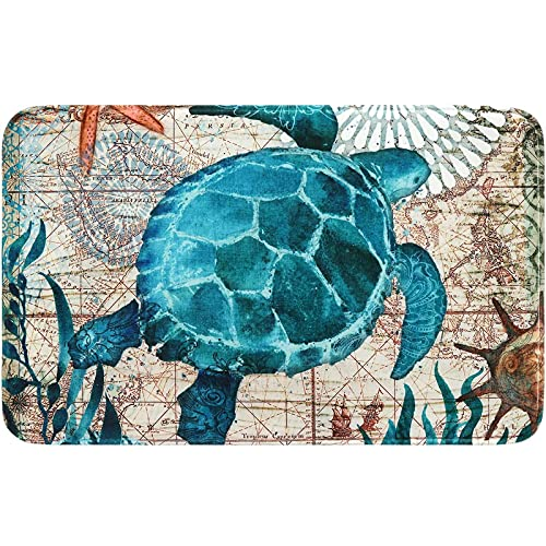 YLTPAJK Floor Cushioned, Non Skid Floor Mat, Anti Fatigue Mats for Kitchen Floor, Marine Life Kitchen Rugs and Mats Non Skid Washable, Flannel Bath Mat, Bathroom Rugs 15.7x23.6inch-A