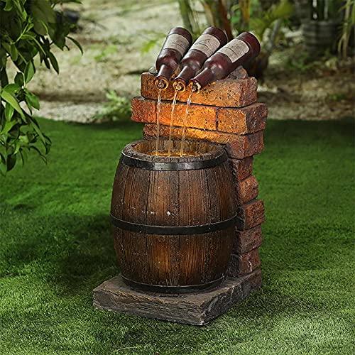 Kreative Harzornamente:Weinflaschen und -fässer aus Harz, Springbrunnen im Freien, LED-Leuchten für die Gartendekoration,wasserbrunnen garten,gartenbrunnen für außen led flaschenlicht flasche