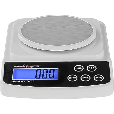 Steinberg Balance de Précision Cuisine Professionnelle SBS-LW-500/10 (500 g / 0,01 g, surface de pesée 12 cm, 6 unités de pesage, écran LCD rétroéclairé, pieds en caoutchouc antidérapant)