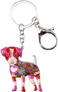 Bonsny Enamel Alloy Jack Russell Dog Key Chains For Women Gifts Car Purse Handbag Charms Jewelry