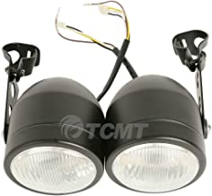 TCMT Dominator Chrome Headlights W/Bracket Fits For Dirt Bike Street Fighter Cafe Racer