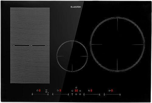 Klarstein Delicatessa 77 Hybrid - Table de cuisson à induction, Encastrable, 4 zones, 7000W, noir