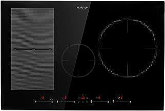 Klarstein Delicatessa 77 Hybrid Placa de cocina - Placa de inducción, Para empotrar, 4 zonas, 7000 W, Panel táctil, Flexzone, Sensor de sartenes, Autoapagado, Vitrocerámica, Negro