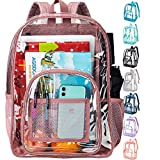 """Clear Backpack, Heavy Duty Through Bookbag for Women, 16"""" Transparent Large Backpacks - Pink"""