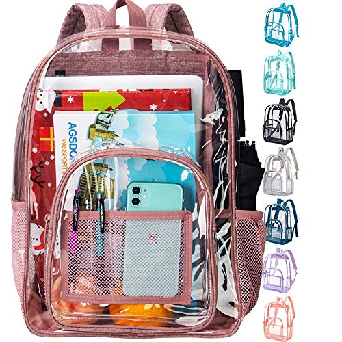 Clear Backpack, Heavy Duty Transparent Bookbag - Pink
