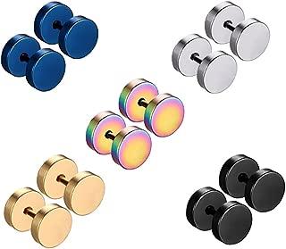 Honbay 5pairs Stainless Steel Unisex Men Women Barbell Stud Earrings Tunnel Punk Style Ear Piercing Plugs (7mm)