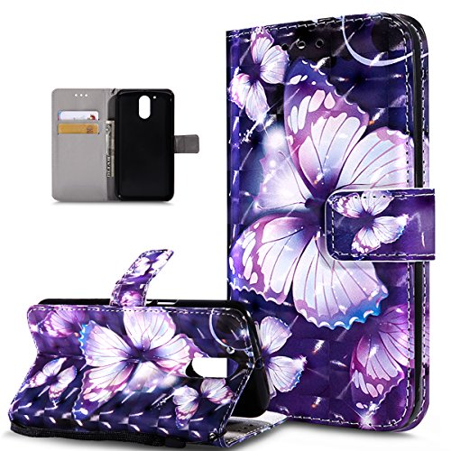 Kompatibel mit Motorola Moto G4 Plus Hülle,3D Bunte Gemalte Schmetterlings PU Lederhülle Flip Ständer Wallet Handy Hülle Tasche Handy Tasche Schutzhülle für Motorola Moto G4 Plus,Lila Schmetterling