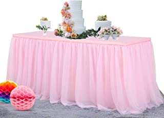 peach tulle table skirt