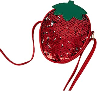 Fanspack Kids Shoulder Purse Cute Sequin Strawberry Pineapple Change Purse Crossbody Bag