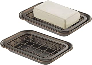 mDesign Metal 2-Piece Soap Dish Tray with Drainage Grid and Holder for Kitchen Sink Countertops to Store Soap, Sponges, Scrubbers - Rust Resistant - 2 Pack - Bronze