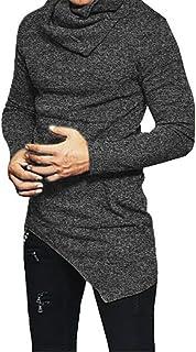 JXEWW Men Hip Hop T Shirts Hem Blouse Swag Long Sleeves O Neck Side Pocket