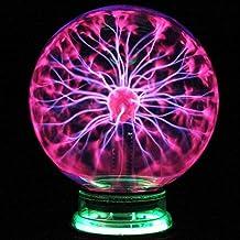 Fdrirect Bola de luz, globo de luz de plasma mágico de 4 polegadas lâmpada estática de toque com som de bola de plasma sen...