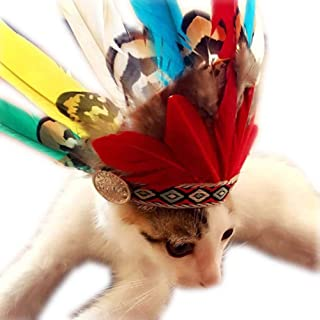 POPETPOP 2Pcs Dog Halloween Hat, Indian Feather Headdress, Pet Headwear Headband for Puppy Cats Halloween Christmas Party Props