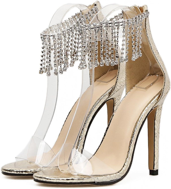 Damen Slip-On Fringe Strass High Heels Sexy Ankle Ankle Ankle Strap Sandalen Abend Hochzeit Ausgeschnitten Pumps Damen Party Peep Toe Schuhe  64ed78