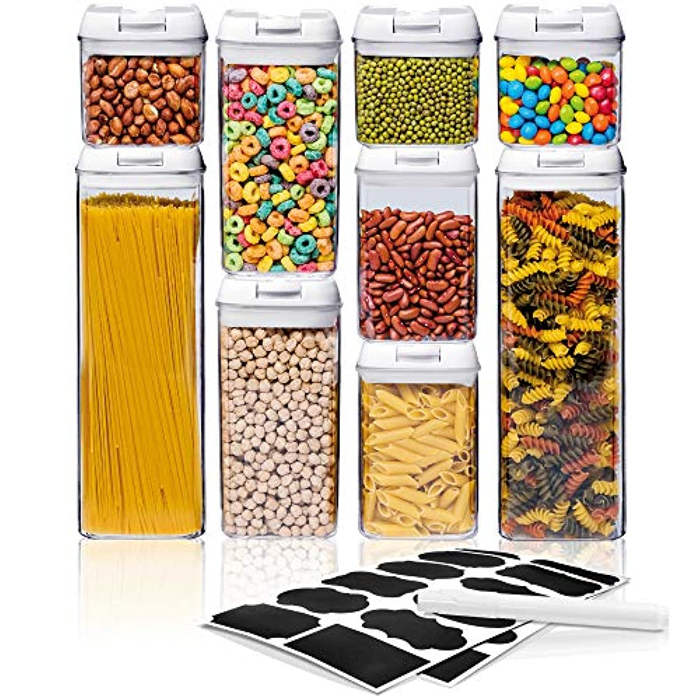 Airtight Food Storage Container Sets - Larger Sizes |Leak Proof & Interchangeable Lids| Pantry Organization| Premium Quality Clear Plastic with White Lids| BPA FREE (9-Piece Set)