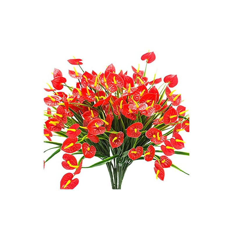 silk flower arrangements yisnuo artificial fake flowers, faux anthurium plants plastic shrubs bushes greenery indoor outside hanging planter home decorations(red)