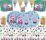 Pioneer Party Nuovi Articoli per Feste Peppa Kit per Feste di Compleanno per Bambini Stoviglie da tavola per Feste monouso Deluxe 16 Pezzi