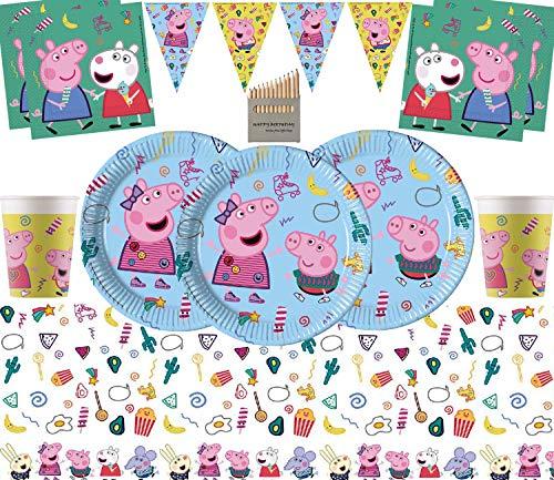 Nuevo Peppa Party Supplies Kit de Fiesta de cumpleaños para niños Vajilla desechable de Lujo para Fiestas Sirve 16