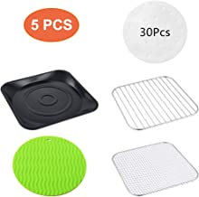 WELTPACKEN XL Air Fryer Accessories 9.3 Inch, Set of 5 Pcs Including Pizza Tray, Multipurpose Grille Rack, Mesh Rack, Silicone Mat, Paper Liners
