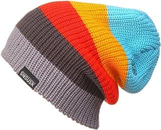 YueLian Unisex Adult Cuffed Stretch Winter Rainbow Striped Hat Knit Beanie Ski Cap