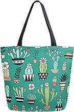 Mnsruu Handtasche aus Segeltuch, für Damen, mit Griff, Einkaufstasche, Kaktus-Tasche, Freizeittasche, Strandtasche, Multifunktionstasche für Damen