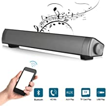Bluetooth Sound Bar Speaker, Wireless/Wired Remote Control Hi-Fi Heavy Bass Noise Cancelling Home Theatre Soundbar with Subwoofer for Support TF Card for TV/Cellphone/Desktop Laptop PC Tablets
