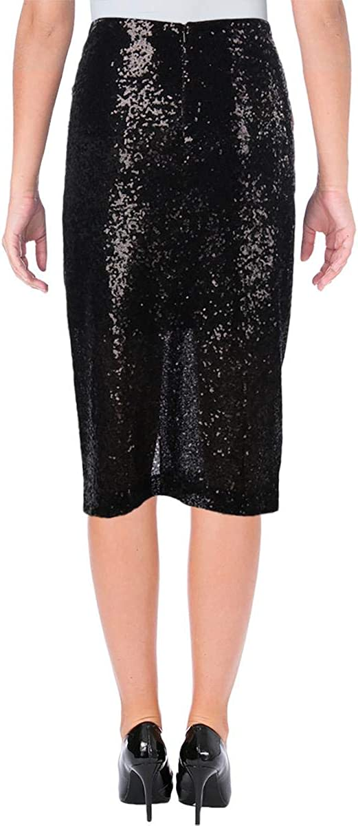 Badgley Mischka Womens Jai Sparkly Sequined Night Out Party Midi Skirt
