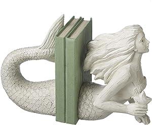 Resin Mermaid Bookend Pair, Distressed White