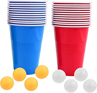 Hemoton Lot de 24 gobelets pour jeu de fête, 50 gobelets de bière-pong avec 8 boules de bière-pong réutilisables de 47 cl ...