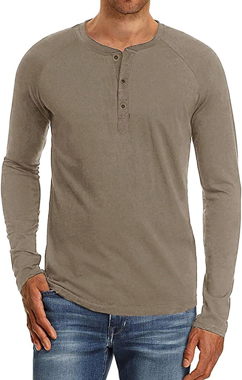 FUNEY Men's Beefy Long Sleeve Henley Shirt Casual Fashion Raglan Active Baseball Tee Shirts Slim Fit Basic Solid Color Top